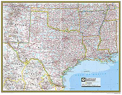 National Geographic South Central US Wall Map