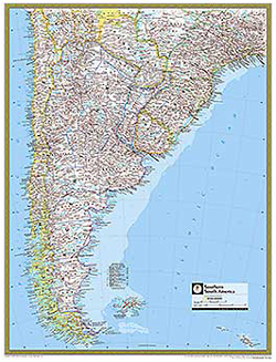 National Geographic Southern South America Wall Map